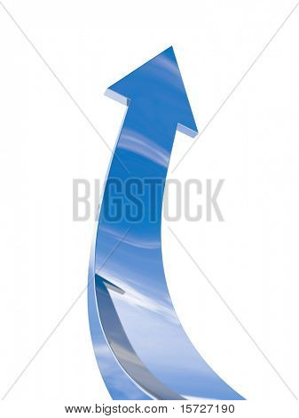 The chrome arrow aspire to sky - with clipping path