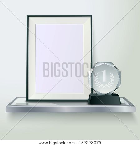 Faceted round crystal glass winner trophy and photo frame on shelf realistic side view composition vector illustration
