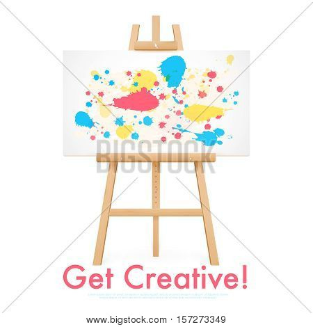Wooden easel template with horizontal painted canvas isolated on white background vector illustration