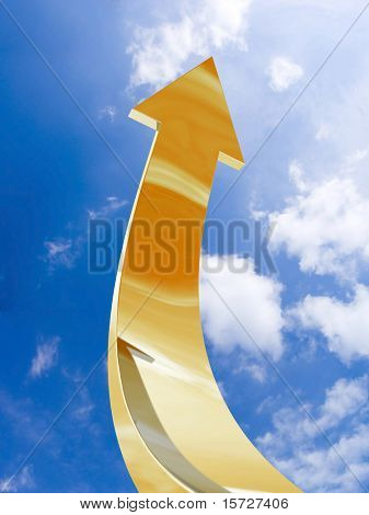 Gold arrow - aspire to sky - with clipping path