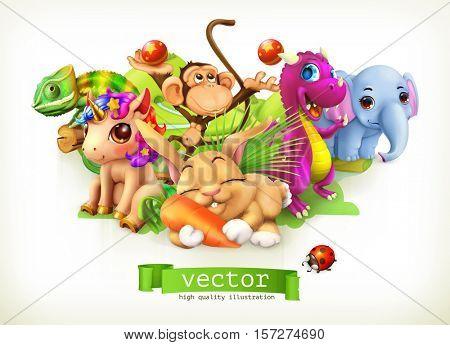 Fairy tale animals. Happy bunny, rabbit, cute unicorn, small dragon, baby elephant, monkey, chameleon. 3d vector