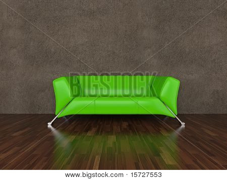 Green leather sofa in interior