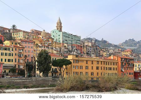 Colorful houses in old town of Ventimiglia (A small town near the border with France on the Italian Riviera) Provincia di Imperia Liguria Italy