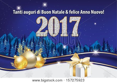 We wish you Merry Christmas and Happy New Year - Italian language: Tanti auguri di Buon Natale & felice Anno Nuovo - greeting card for winter holiday. Print colors used. Custom size with fir trees and ornaments
