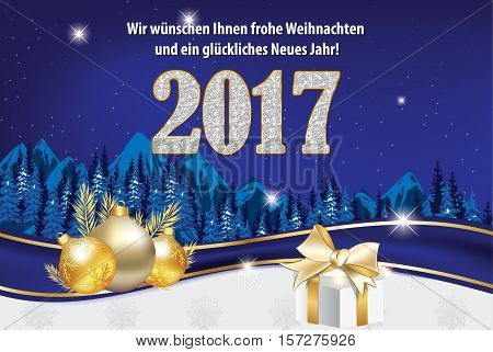 We wish you Merry Christmas and Happy New Year - german language: Wir wunschen Ihnen Frohe Weihnachten und ein Gluckliches Neues Jahr - greeting card for winter holiday with fir trees and ornaments
