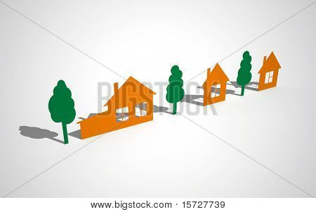 Color paper houses and trees