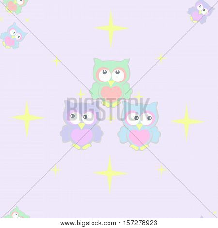 kids drawing colored owls on a starry background