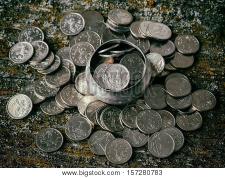 Russian money penny coins metal retro style selective focus
