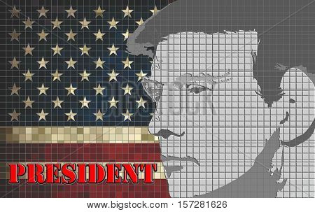 Donald Trump President of the United States - Illustration, USA flag with Donald Trump inside,  Abstract portrait of Republican President of the United States