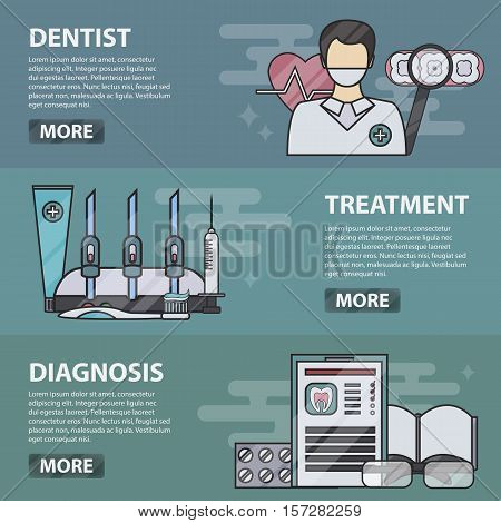 Vector thin line design horizontal banners of dentist, treatment and diagnosis. Business concept of dentistry, teeth care, doctor profession, medicine and healthcare. Set of medical equipment.