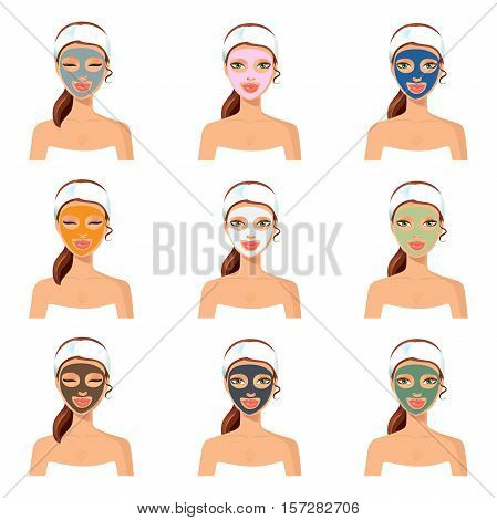 Vector illustration of different color facial masks. Woman with cosmetic mask on face.