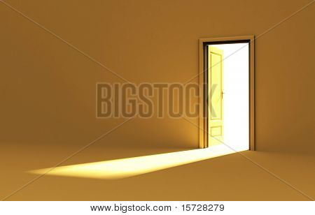 Inside a room with opened door - yellow edition