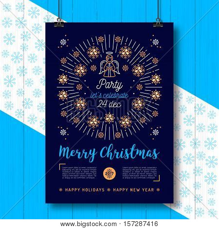 Christmas poster, Holiday Xmas party flyer A4 size. Christmas angel, Snowflakes frame, Religious placard. Minimal design, Mono line art, Golden snowflakes and sun bursts or bursting rays. Vector