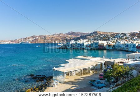 Mykonos Greece - October 15 2012: View of the Chora old town from the historic windmills promontory