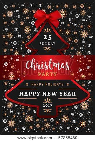 Christmas party Happy New Year Poster. Christmas tree, red bow and ribbon, gold and white snowflakes, winter background. Elegant Christmas Card Art Deco, Christmas party invitation. Vector