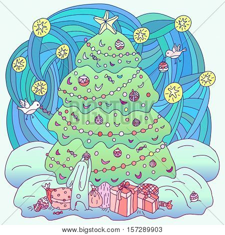 Gift card Xmas theme. Coloring book. Hare and birds adorn the Christmas tree. Vector illustration