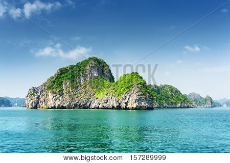 Scenic View Of Rocks-isles And Azure Water In The Ha Long Bay