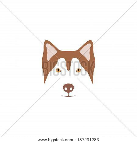 Brown head of a dog breed Siberian Husky with blue eye. Easy recolor design element.
