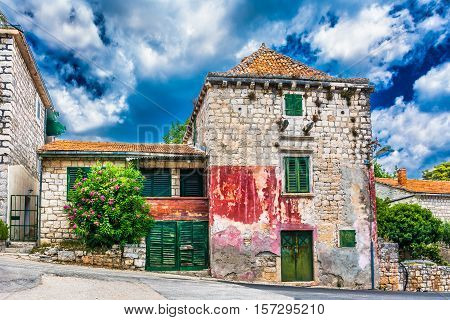 View at dramatic colorful scenery in small picturesque village in Croatia, Europe.