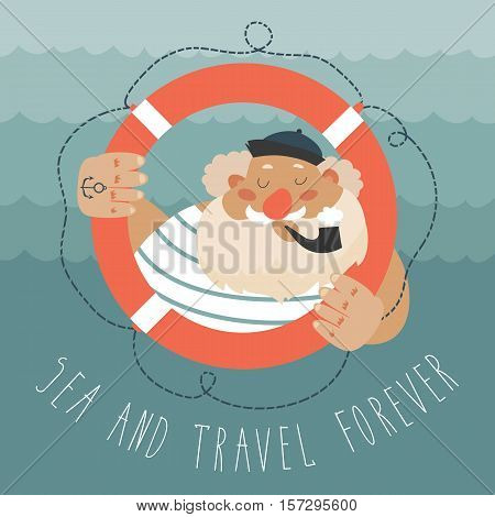 Portrait of bearded sailor with tobacco pipe. Bearded boat captain smoking pipe. Vector illustration