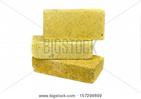 Three special bricks for furnace fireplace isolated on white background