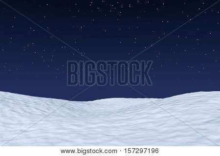 White snowy field under bright clear winter night north sky with bright stars winter snow background 3d illustration