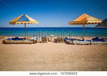 Beach area Blue Hole, Dahab, Egypt, Red Sea.