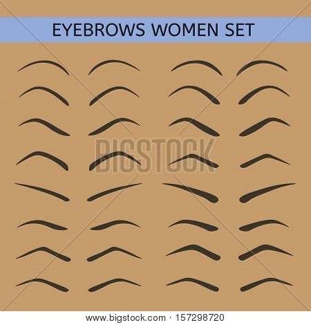 Female eyebrows in different shapes. Wide and narrow eyebrows