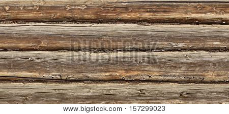 Old Rustic Natural Log Cabin Wall Facade Wide Background Texture