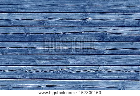 Weathered Blue Color Log House Wall.