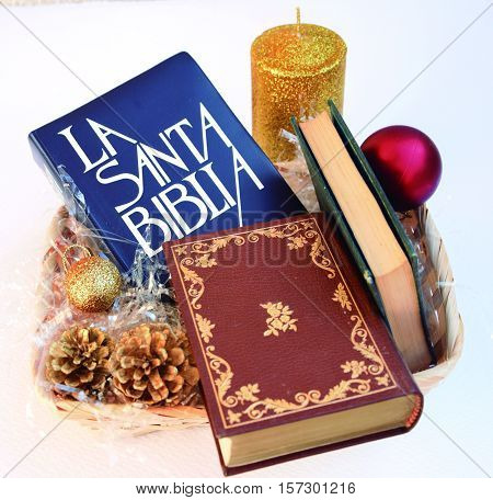 Christmas with the Bible. The Bible is the book indicated for Christmas.