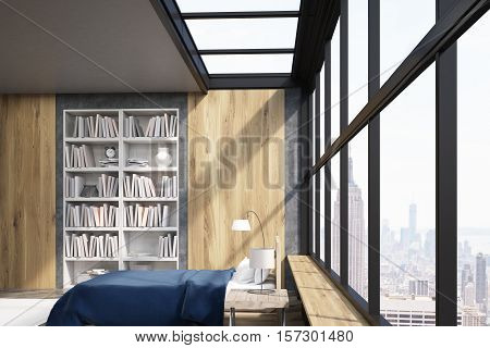 Side view of modern New York bedroom with bookcase large vertical poster and window. Concept of comfortable home. 3d rendering. Mock up