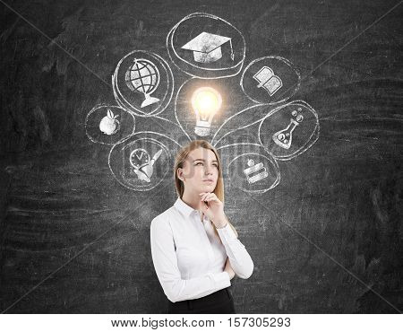Thoughtful businesswoman is standing near a blackboard with education icons on it. Concept of further education