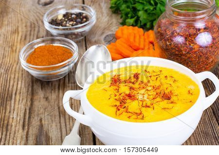 Vegetable Cream Soup with Saffron Diet Food. Studio Photo
