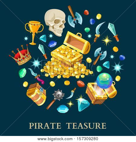 Pirate treasure isometric icons set with chest golden coins gems weapon on black background isolated vector illustration
