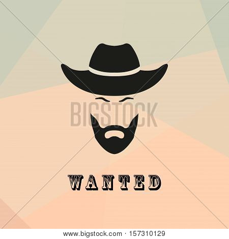 Wanted cowboy with a beard and mustache. Cowboy bandit Silhouette