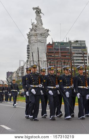 Buenos Aires, Argentina - Jul 11, 2016: Members  of the Argentine navy at the military parade during celebrations of the bicentennial anniversary of Argentinean Independence day.