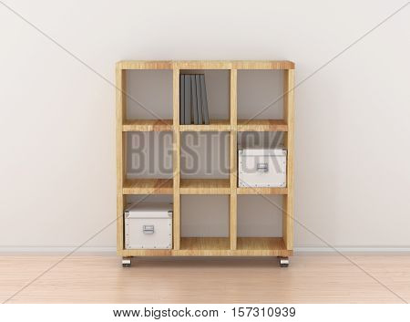 Book Rack Isolated Against The White Wall In Bright Interior.
