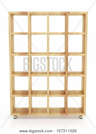 Empty Book Rack Isolated On White Background. Include Clipping Path