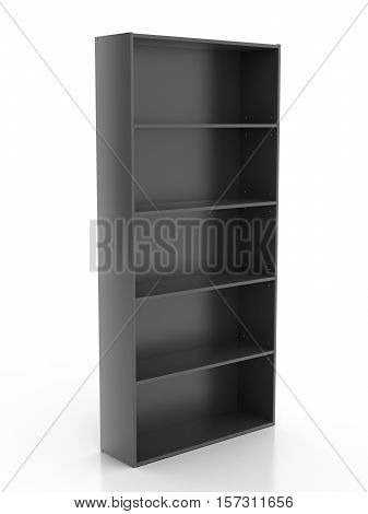 Empty Black Bookcase Isolated On White Background. Include Clipping Path