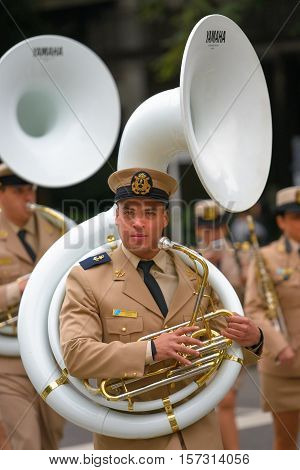 Buenos Aires, Argentina - Jul 11, 2016: Member of the Argentine military band at the parade during celebrations of the bicentennial anniversary of Argentinean Independence day.