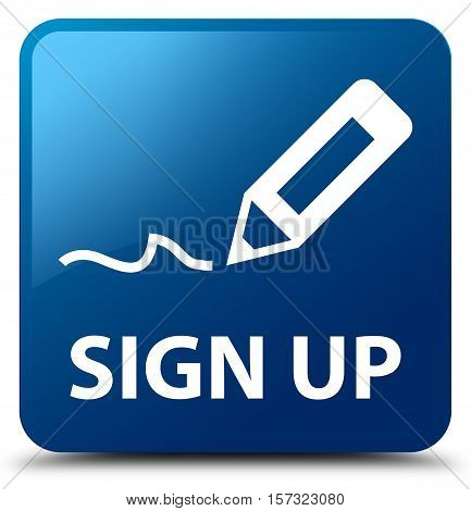 Sign up (register icon) blue square button