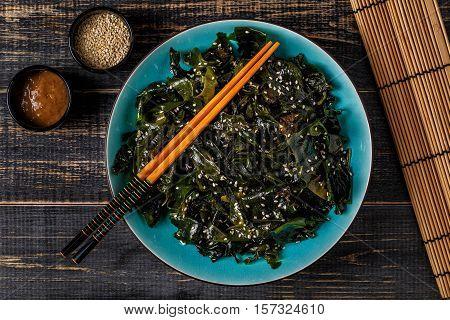Wakame salad raw seaweed Japanese cuisine top view