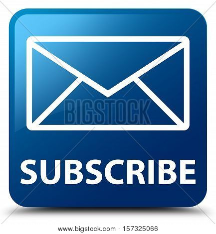 Subscribe (email icon) on blue square button