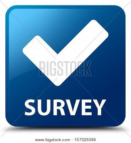 Survey (validate icon) on blue square button