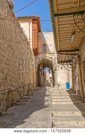 JERUSALEM, ISRAEL - JUNE 19, 2015: Quiet afternoon at the staircase narrow street near Jaffa gate in the old town.