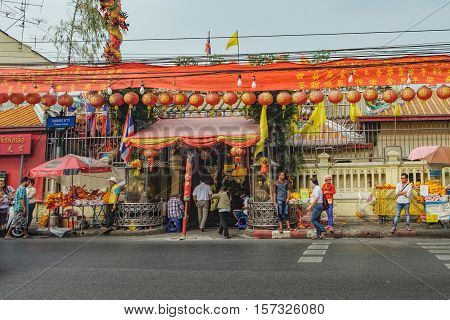 Bangkok, Thailand - January 8, 2016: Xuantianshangdi Temple is the temple in Chinese style on Thanon Tanao - famous district for tourist in Bangkok Thailand