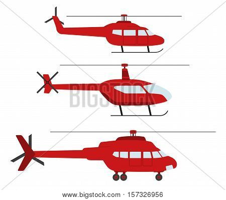 Set of helicopters in flat style. Helicopter icon isolated. Propelled vehicle. Vector illustration.
