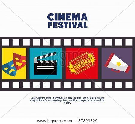 poster cinema festival strip film icons movie vector illustration eps 10