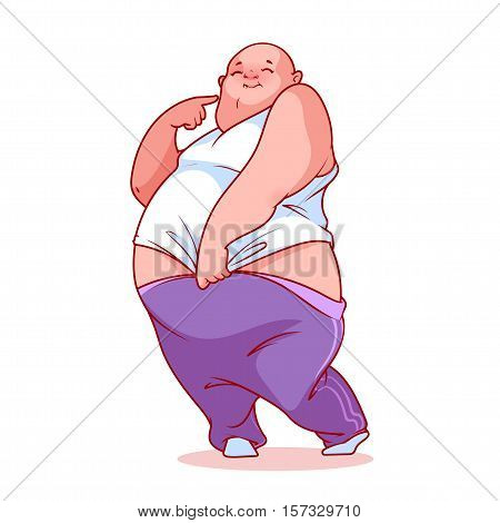 Shy fat man. Vector illustration on a white background.
